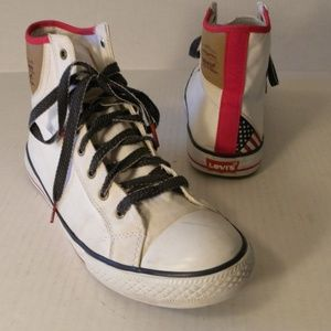 Levi's High Top Sneakers Mens 9.5 M USA Flag White